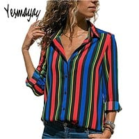 Work Office Button Up Blouse Women Shirt Top Womens Tops and Blouses Plus Size 5XL Long Sleeve Striped Blouse Womens