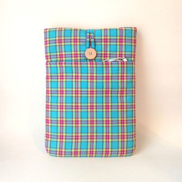 "Macbook Air Case 13 to 13 . 3 inch, or MacBook Pro Retina 13"" Laptop Sleeve Bag Padded Mac Book Cover Turquoise Blue Pink Green Madras Plaid"