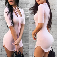 Club Sexy Short Sleeve One Piece Dress [9772800397]