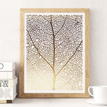 Leaf Pattern Print, Botanical Leaf Print, Minimalist Art, Real Gold Foil, Leaf Poster, Modern Wall Print, Botanical Poster, Gold Wall Decor.