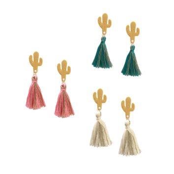 Saguaro Cactus Tassel Earrings