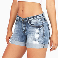 Acid Drop Low-Rise Denim Shorts