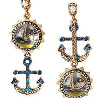 Betsey Johnson Anchor & Sail Boat Bauble Mismatch Earrings - Blue