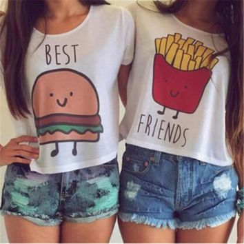 Ladybro Cartoon Hamburg Or Frech Fries Printing T Shirt Women Girl Best Friend Casual Blouse Tops = 5987521217