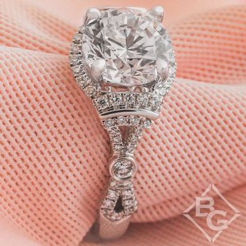 "Kirk Kara ""Lori"" Round Cut Halo Diamond Engagement Ring"