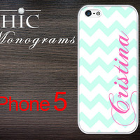 iPhone 5 case iPhone 5 cover iPhone 5 skin iPhone 5 cover iPhone 5 Monogram Turquoise and White Chevron Pattern