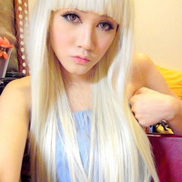 lady gaga blonde half long straight synthetic party cos wig,65cm bang in a line daily hair.Free shipping