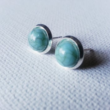 Grayed Jade Earrings -Greyed Jade Studs - Gray Jade Earrings - Color Trend Earrings - Sea Green - Sea Foam Green