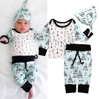 Adorable Baby Boys Girls Clothes Set Long Sleeve Tops Pants Leggings Hat Outfits Set Clothing