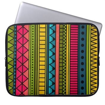 Colorful Cute Girly Cool Tribal Geometric Pattern Laptop Sleeves
