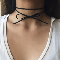 SALE! 50% OFF Simple Double Wrap Black Choker/ Dainty Bow-Tie Suede Choker - Becca Orig. Price 14 USD
