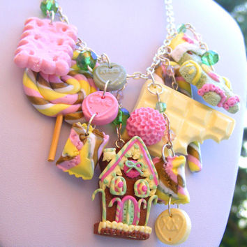 Gingerbread House Necklace ,Polymer clay Food, Christmas Charm Necklace, Statement Necklace, Food Jewellery,