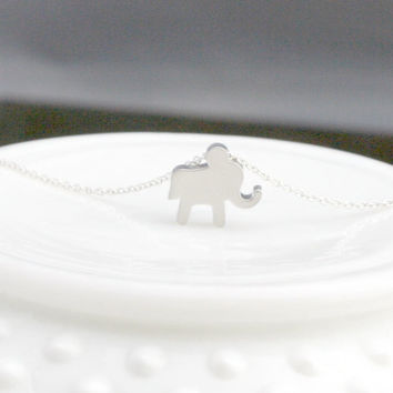 Silver Elephant Necklace - Silver Elephant Charm - Lucky Elephant Necklace