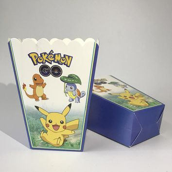 12pcs  Go Kids Birthday Party Supplies Candy Package Popcorn Box Case Gift Box Party Favors Baby Shower AccessoriesKawaii Pokemon go  AT_89_9