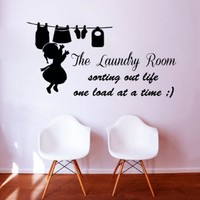 Wall Decal Quote Vinyl Decal Family the Laundry Room Sticker Sorting Out Life One Load At a Time Baby Girl Home Interior Design Living Room Spa Bathroom Decor KT123