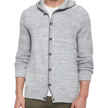 Hooded Button-Down Cardigan, Gray, Size: