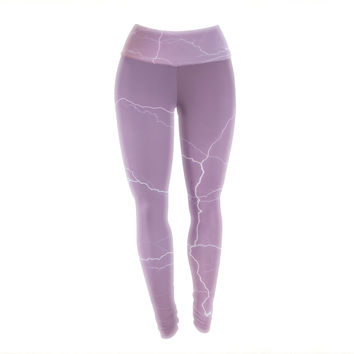 "KESS Original ""Pastel Lightning"" Pastel Pink Yoga Leggings"
