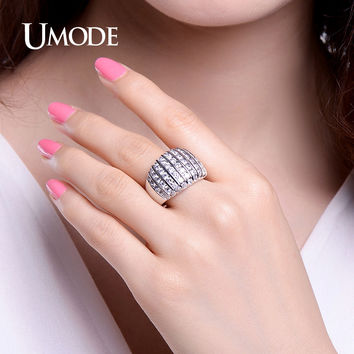 UMODE Brand Designed Channel Setting Simulated Rings White Gold Color Jewelry for Women