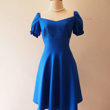 Happily Ever After - La La Land Blue Dress Sundress Doll Sleeve Summer Dress Royal Blue Bridesmaid Dress Vintage Sweetheart Tea Party Dress