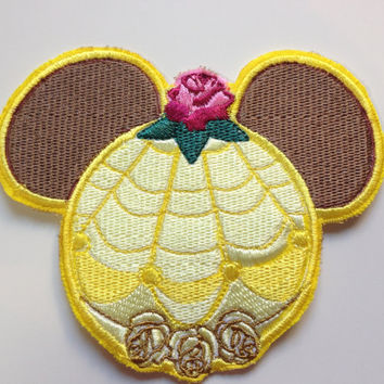 Disney Princess Beauty and the Beast Belle Mouse Ears Sew On Patch.  Fish Extender Decoration