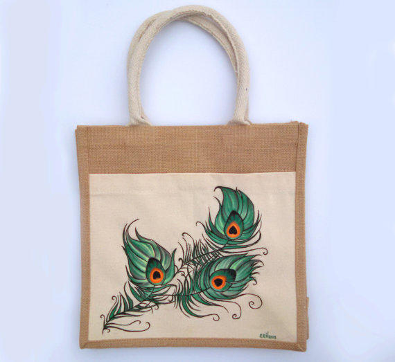 Hand Painted Tote Canvas And Jute Peacock From Waffleink