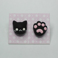 Cat Paw earrings studs kawaii