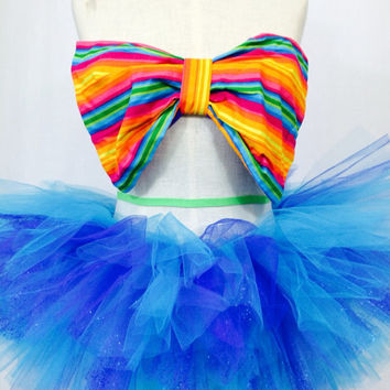 Rainbow Bow bandeau with tutu / festival outfit / edc / coachella / tomorrowworld