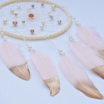 Boho Dream catcher, Wall Hanging Dreamcatcher, Baby Girl  Gift Idea, Blush Pink Dreamcatcher, Pink Ivory Nursery Decor, Pearls