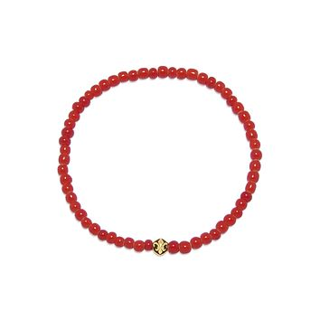 Men's Wristband with Red Glass Beads and Gold