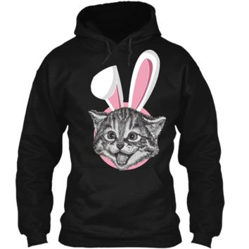 Cat With Easter Bunny Ears Funny Cute Kitten Lover T-Shirt Pullover Hoodie 8 oz