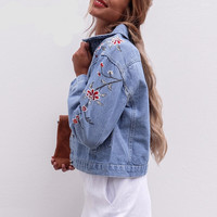 Flower embroidery Vintage Denim jacket