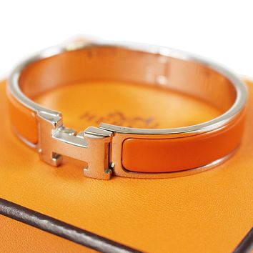HERMES Clic Clac H Bangle Bracelet Silver Orange Enamel Vintage Authentic #D7 M Tagre™