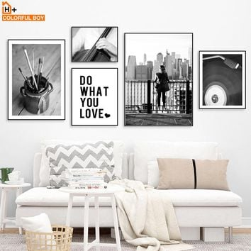 COLORFULBOY New York Guitar Landscape Wall Art Print Canvas Painting Black White Nordic Poster Wall Pictures For Living Room