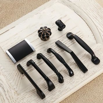 5pcs Modern Black Door Handles Metal Drawer Pulls Kitchen Cabinet Handles and Knobs Furniture Handles