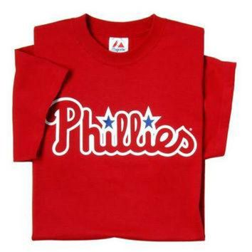 Philadelphia Phillies (ADULT SMALL) 100% Cotton Crewneck MLB Officially Licensed Majes