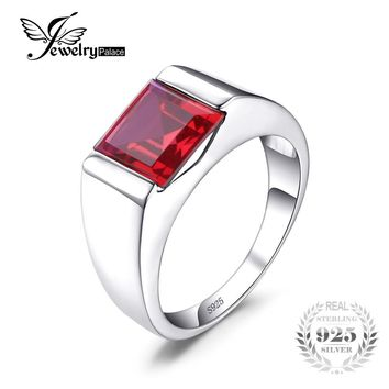JewelryPalace Men's Jewelry Created Ruby Engagement Wedding Ring For Men Square Genuine 925 Solid Sterling Silver Wedding Gem