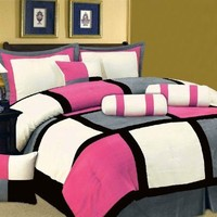 5 PC MODERN HOT PINK Black White Gray Suede COMFORTER SET / BED IN A BAG - TWIN SIZE BEDDING:Amazon:Home & Kitchen