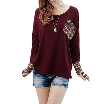 Women's Patchwork Casual Loose T-shirts Top With Thumb Holes