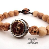 Wisdom eye, buddha eye and skull bone bead bracelet