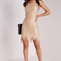 Missguided - Lace Scallop Hem Back Detail Bodycon Dress Taupe