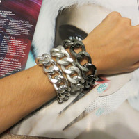 Thick and Chunky Matte silver and Gunmetal Layering Chain Bracelets