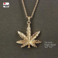 Jewelry Kay style Men's Hip Hop Iced Out 14k Gold Blunt Weed Leaf Rope Chain Pendant Necklace Set