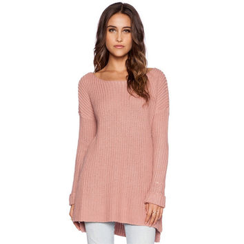 Rose Pink Long Sleeve Sweater