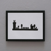 Super Mario Brothers Hand Cut silhouette papercut