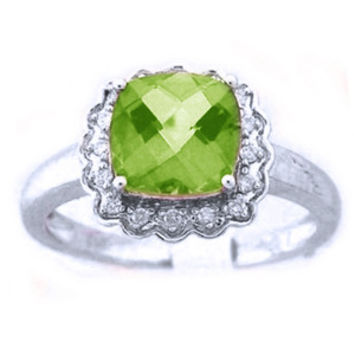 10k White Gold Diamond Peridot Gemstone / Birthstone Ring: Ring Size: 5