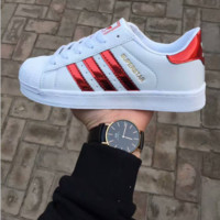 """Adidas"" Fashion Reflective Shell-toe Flats Sneakers Sport Shoes Laser red"