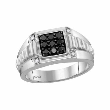 10kt White Gold Men's Round Black Color Enhanced Diamond Square Cluster Ribbed Shank Ring 1/2 Cttw - FREE Shipping (US/CAN)