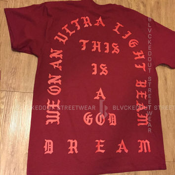 Yeezus Tour Ultra Light Beam GARNET Short Sleeve / Kanye West / Yeezy / I Feel Like Pablo / The Life of Pablo / TLOP / Season 3