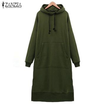 Warm Casual Loose Calf Length Hooded Sweatshirt Dress