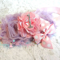 Baby 1st Birthday headband ~ Lavender Pink #1 Birthday Headband